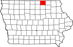 Map of Iowa showing Mitchell County