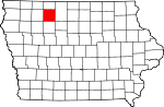 Map of Iowa showing Palo Alto County