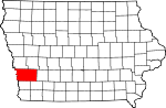Map of Iowa showing Pottawattamie County