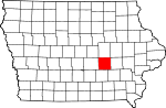 Map of Iowa showing Poweshiek County