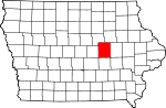 Map of Iowa showing Tama County