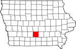 Map of Iowa showing Warren County