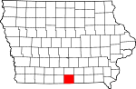 Map of Iowa showing Wayne County