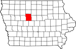 Map of Iowa showing Webster County