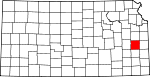 Map of Kansas showing Anderson County