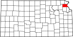 Map of Kansas showing Atchison County