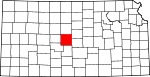Map of Kansas showing Barton County