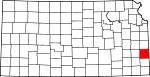 Map of Kansas showing Bourbon County