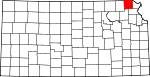 Map of Kansas showing Brown County