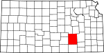 Map of Kansas showing Butler County