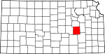 Map of Kansas showing Chase County