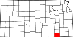 Map of Kansas showing Chautauqua County