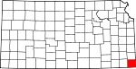 Map of Kansas showing Cherokee County