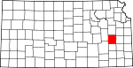 Map of Kansas showing Coffey County