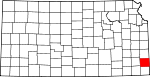 Map of Kansas showing Crawford County