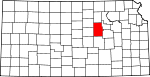 Map of Kansas showing Dickinson County