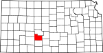 Map of Kansas showing Edwards County