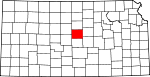 Map of Kansas showing Ellsworth County