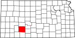 Map of Kansas showing Ford County