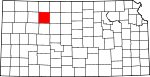 Map of Kansas showing Graham County