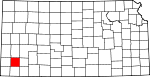 Map of Kansas showing Grant County