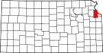 Map of Kansas showing Leavenworth County