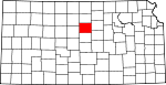 Map of Kansas showing Lincoln County