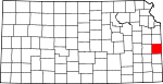 Map of Kansas showing Linn County