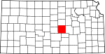 Map of Kansas showing McPherson County