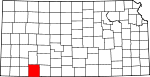Map of Kansas showing Meade County