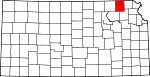 Map of Kansas showing Nemaha County