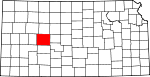 Map of Kansas showing Ness County