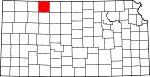 Map of Kansas showing Norton County