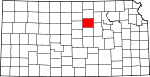 Map of Kansas showing Ottawa County
