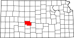 Map of Kansas showing Pawnee County