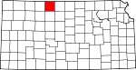 Map of Kansas showing Phillips County