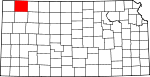 Map of Kansas showing Rawlins County
