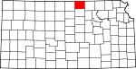 Map of Kansas showing Republic County