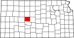 Map of Kansas showing Rush County