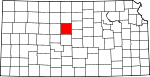 Map of Kansas showing Russell County