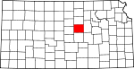Map of Kansas showing Saline County