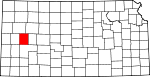 Map of Kansas showing Scott County
