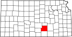 Map of Kansas showing Sedgwick County