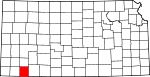 Map of Kansas showing Seward County