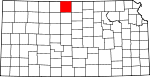 Map of Kansas showing Smith County