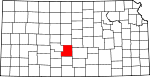 Map of Kansas showing Stafford County