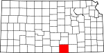 Map of Kansas showing Sumner County
