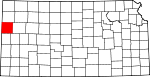 Map of Kansas showing Wallace County