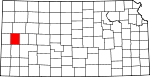 Map of Kansas showing Wichita County
