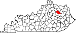 Map of Kentucky showing Bath County